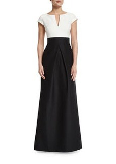 Halston Heritage Short-Sleeve Combo Full-Skirt Gown