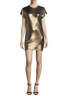 Halston Heritage Short-Sleeve Foil Jersey Mini Dress