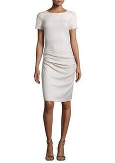 Halston Heritage Short-Sleeve Ruched Sheath Dress