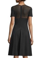 Halston Heritage Short-Sleeve Sheer-Yoke Cocktail Dress