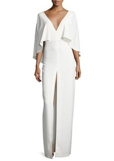 Halston Heritage Short-Sleeve Stretch Crepe Column Gown
