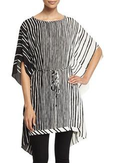 Halston Heritage Short-Sleeve Striped Caftan