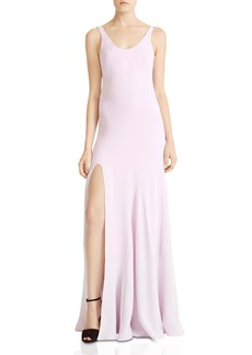 HALSTON HERITAGE Side-Slit Flounce Gown