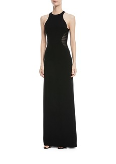 Halston Heritage Side Striped Applique Halter-Neck Gown