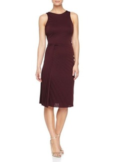 Halston Heritage Side-Twist Pleated Dress