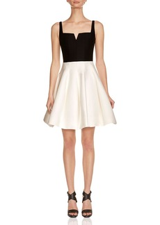 HALSTON HERITAGE Silk Faille Fit-and-Flare Dress