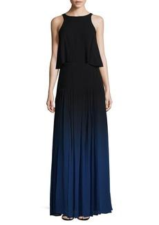 Halston Heritage Silk Overlay Maxi Dress