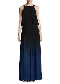 Halston Heritage Silk Overlay Maxi Dress