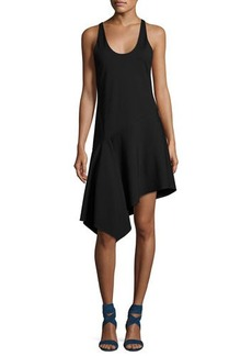 Halston Heritage Sleeveless Asymmetric Jersey Dress