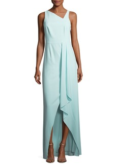 Halston Heritage Sleeveless Asymmetric-Neck Evening Gown w/ Flowy Drape