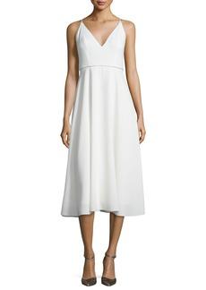 Halston Heritage Sleeveless Beaded V-Neck Midi Dress