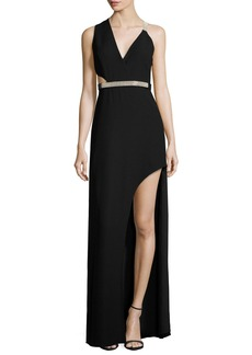 Halston Heritage Sleeveless Belted Crepe Gown