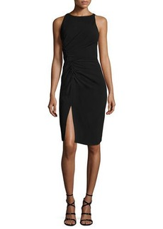 Halston Heritage Sleeveless Boat-Neck Crepe Cocktail Dress w/ Gathering