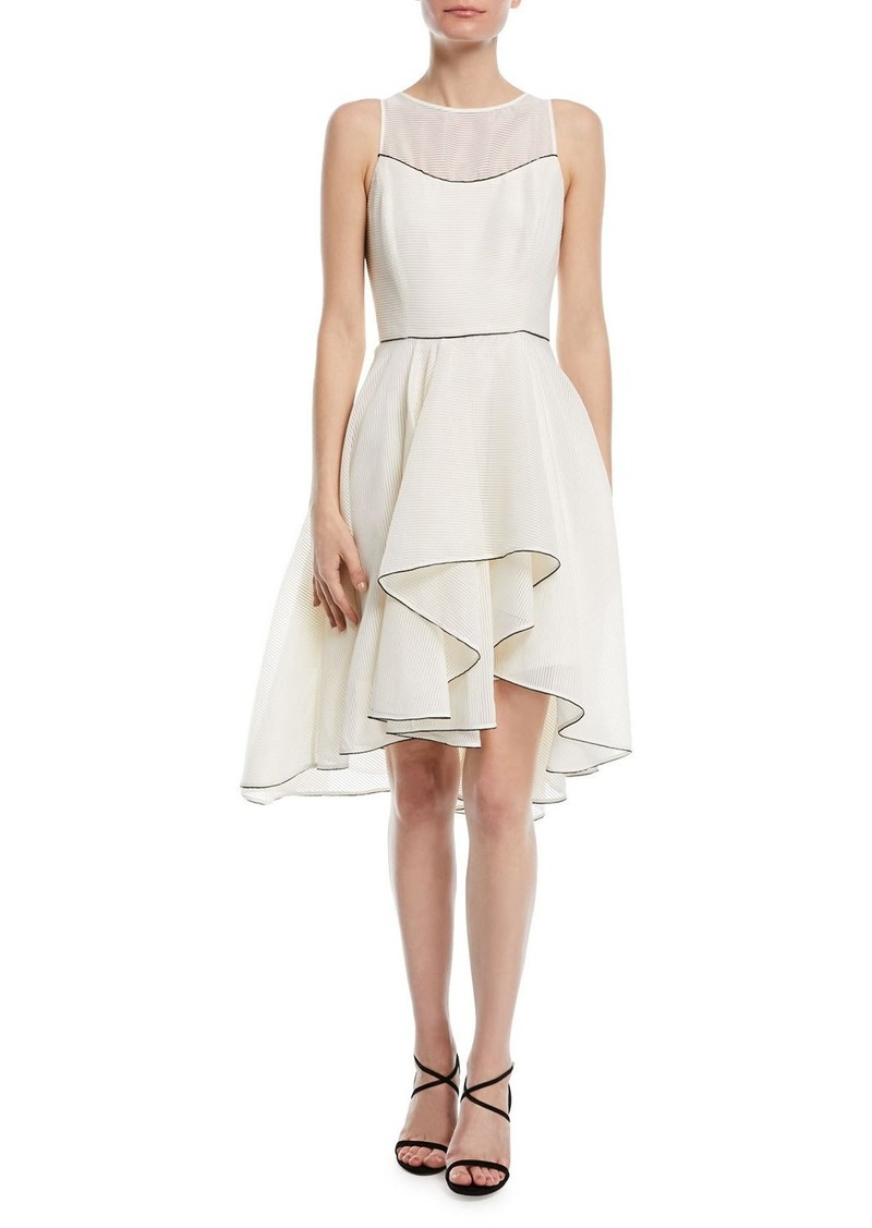 Halston Heritage Sleeveless Cocktail Dress w/ Dramatic Skirt