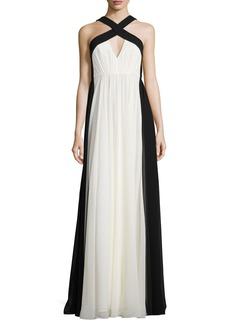 Halston Heritage Sleeveless Colorblock Chiffon Gown