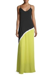 Halston Heritage Sleeveless Colorblock Evening Gown