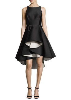 Halston Heritage Sleeveless Colorblock Fit-and-Flare Cocktail Dress