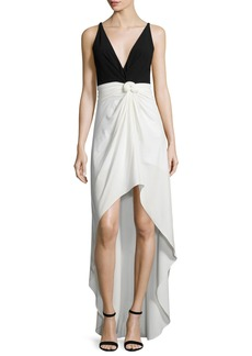 Halston Heritage Sleeveless Colorblock Knot-Waist Dress
