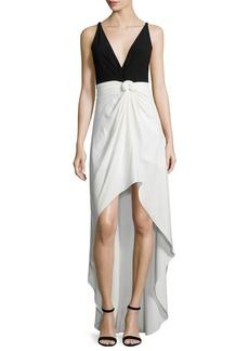 Halston Heritage Sleeveless Colorblock Knot-Waist Dress