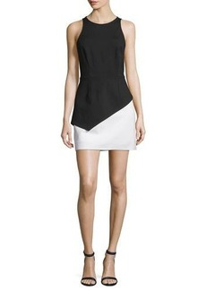Halston Heritage Sleeveless Colorblock Peplum Dress