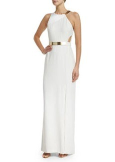 Halston Heritage Sleeveless Column Gown W/Cutouts