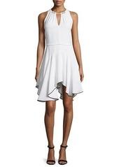 Halston Heritage Sleeveless Contrast Flounce-Hem Dress
