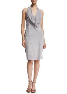 Halston Heritage Sleeveless Cowl-Neck Suede Dress
