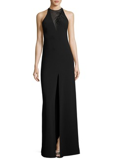 Halston Heritage Sleeveless Crepe Column Gown w/ Embroidery Detail