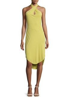 Halston Heritage Sleeveless Crisscross-Front Sheath Dress