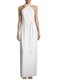 Halston Heritage Sleeveless Crisscross Slit Gown