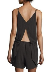 Halston Heritage Sleeveless Cross-Front Short Jumpsuit