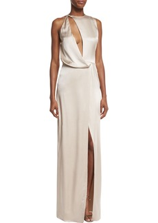Halston Heritage Sleeveless Cutout Asymmetric Satin Gown