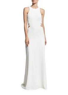 Halston Heritage Sleeveless Cutout Crepe Column Gown