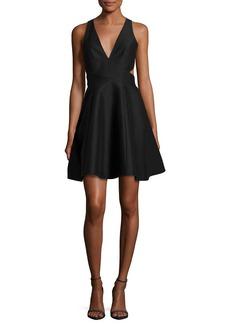 Halston Heritage Sleeveless Cutout Faille Cocktail Dress