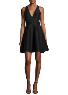 Halston Heritage Sleeveless Cutout Faille Cocktail Dress