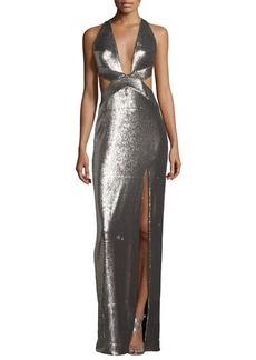 Halston Heritage Sleeveless Cutout Metallic Column Gown