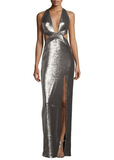 Halston Heritage Sleeveless Cutout Metallic Column Gown