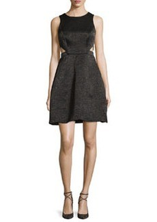 Halston Heritage Sleeveless Cutout Metallic Jacquard Dress