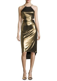 Halston Heritage Sleeveless Cutout Metallic Jersey Midi Dress
