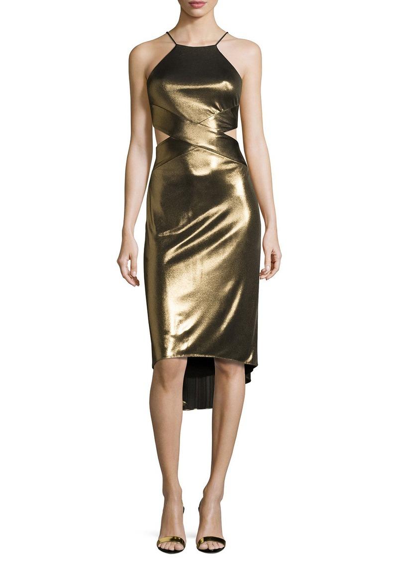 Halston Heritage Sleeveless Cutout Metallic Jersey Midi Dress