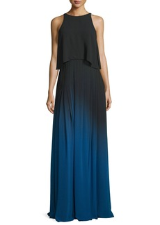 Halston Heritage Sleeveless Cutout Ombre Popover Gown