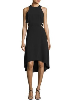 Halston Heritage Sleeveless Cutout Stretch Crepe Cocktail Dress