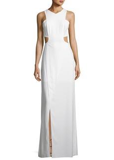 Halston Heritage Sleeveless Cutout Stretch Crepe Column Gown