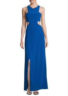 Halston Heritage Sleeveless Cutout Stretch Crepe Column Gown
