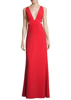 Halston Heritage Sleeveless Deep-V Evening Gown w/ Side Cutouts