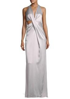 Halston Heritage Sleeveless Deep V Halter Draped Satin Gown