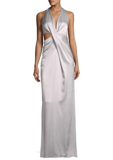 Halston Heritage Sleeveless Deep V Halter Draped Satin Gown