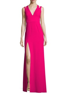 Halston Heritage Sleeveless Deep V-Neck Crepe Gown
