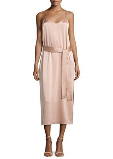 Halston Heritage Sleeveless Double-Strap Satin Slip Dress