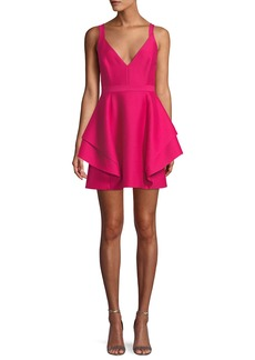 Halston Heritage Sleeveless Dramatic Flounce Mini Dress